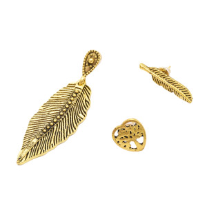 E-4802 Fashion 3pcs/set Semicircle Cross Pendant Leaf Earrings Stud for Women