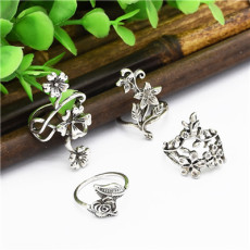 R-1501 4 Pcs/set Vintage Gypsy  Silver Plated Ring Set for Women Jewelry