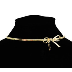 N-7105 Trendy Gold Metal Bowknot Pendant Collar Choker Necklaces for Women Boho Wedding Party Jewelry