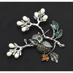P-0408 Aamazing Gold Silver Plated Enamel Leaves hundreds of Colorful Rhinestones Owls Pin Brooch