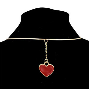 N-7108 2 Colors Trendy Heart Pendant Collar Choker Necklaces For Women Jewelry Design