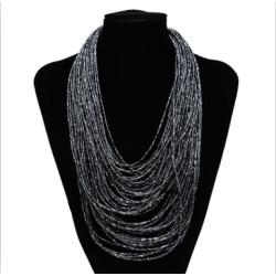 N-5883  New Handmade Bohemian Fashion 40 Layers Resin Seed Beads Chain Choker Pendants Bib Necklaces Women's Statement Jewelry