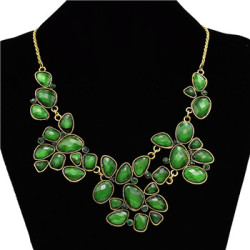 N-0513 Vintage Style Bronze Metal Resin Gem Flower Choker Necklace