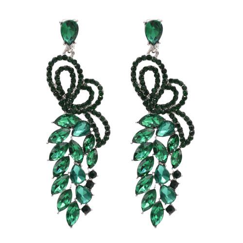 E-4799 Fashion Women's Long Big Rhinestone Crystal Drop Earrings Peach Love Wedding Earrings
