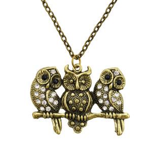 N-7106 Retro Three Owls Pendant Rhinestone Long Necklace Sweater Chain