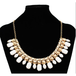 N-0795 Fashion Gold Chain Acrylic Beads Bib Statement Necklaces for Women Bohemian Party Jewelry