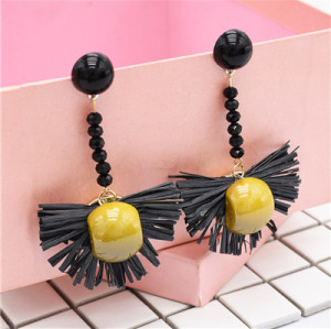 E-4801 Bohemian  Raffia Long Drop Statement Earrings Fringe Earring Stud