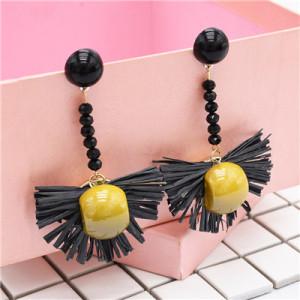 E-4801 Bohemian  Raffia Long Drop Statement Earrings Fringe Earring Stud