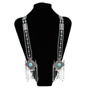 N-6362 Fashion Silver Plated Long Tassel Pendant Necklace Inlay Turquoise Beaded Chain Necklace Women Jewelry
