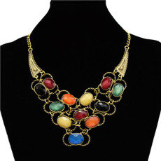New Arrival Charming Bronze Metal Colorful Ellipse Resin Gem Bowknot Choker Necklace N-0756