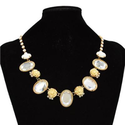N-0781 New Fashion Charming Rhinestone Drop Gem Lovely Flowers Choker Necklace
