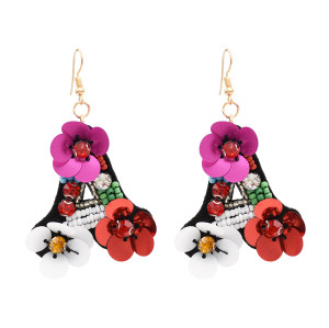 E-4778  Handmade Bohemian Flower Sequins Beaded Rhinestone Drop Earrings Hook Earring for Women