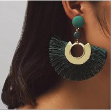 E-4462 5Colors Bohemian Fringe Earrings Graceful Beauty Gold Metal Resin Bead Fabric Thread Tassel Pendant Drop Earrings for Women Party Wedding Jewelry Accessories