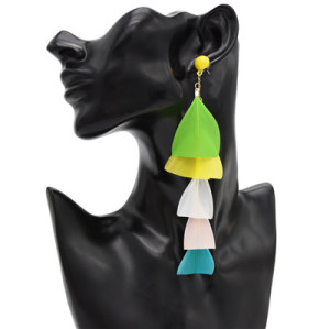 E-4797 3 Colors Trendy Summer Beach Feather Drop Earring For Women Jewelry Design