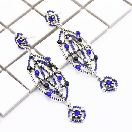 E-4794 Handmade Bohemian Flower  Rhinestone Drop Earrings Hook Earring for Women jewelry