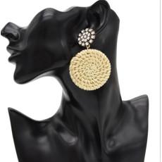 E-4796 New Fashion Bamboo Raft Weaving Handmade Round Pendant Earrings Bohemian Glass Crystal  Rhinestone Drop Earrings Hook Earring for Women jewelry