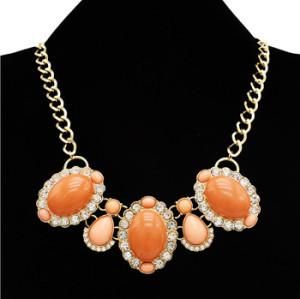 N-3013 European Style golden link chain clear rhinestone flower resin gem drop choker Necklace
