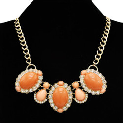N-3013 European Style golden link chain clear rhinestone flower resin gem drop choker Necklace