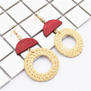 New Fashion Bamboo Raft Weaving Handmade Round Pendant Earrings Bohemian Drop Earrings Hook Earring for Women jewelry