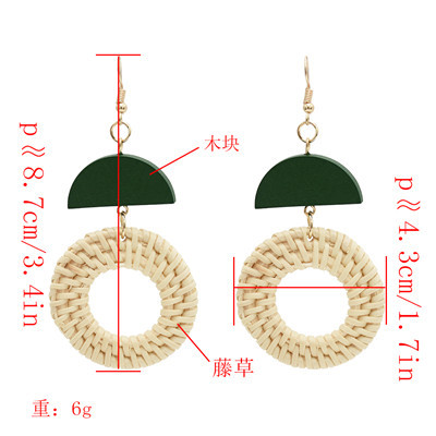 E-4809 New Fashion Bamboo Raft Weaving Handmade Round Pendant Earrings Bohemian Drop Earrings Hook Earring for Women jewelry