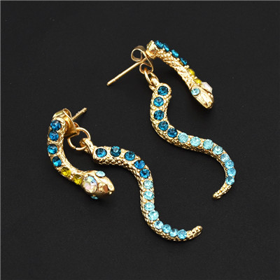 E-4805 Trendy Gold Serpentine Rhinestone Stud Earring Drop Earring For Women Jewelry Design