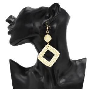 Handmade Acrylic Beads Woven Rattan Long Drop Dangle Earrings for Women Boho Wedding Party Jewelry