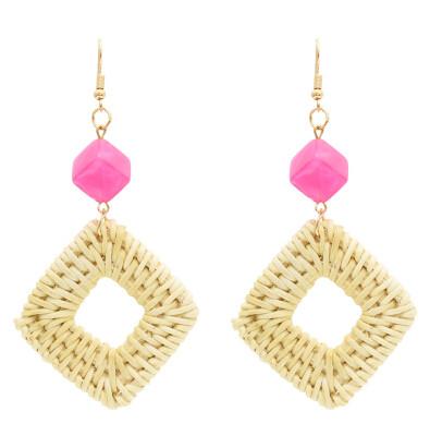 E-4808 Handmade Acrylic Beads Woven Rattan Long Drop Dangle Earrings for Women Boho Wedding Party Jewelry