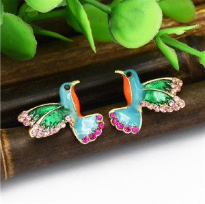 E-4804 Trendy Gold Bird Rhinestone Stud Earring Drop Earring For Women Jewelry Design