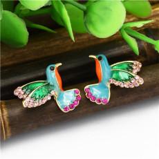 E-4804 Trendy Gold Bird Rhinestone Stud Earring Drop Earring For Women Jewelry Design