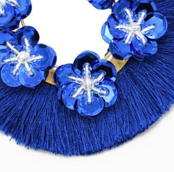 E-4812 5 Colors Trendy Summer Beach Short Tassel Sequins Flower  Drop Earring For Women Jewelry Design