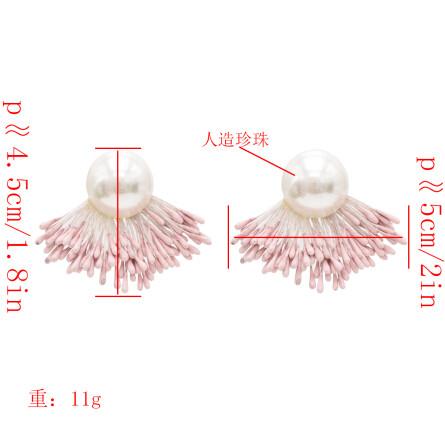 E-4807 Korean Style Fashion Jewelry Pearl Tassel Stud Earrings For Women