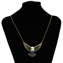 N-3382 Fashion Vintage Style Colorful Glazed Fly Wing Eagle Pendant Necklace Jewelry