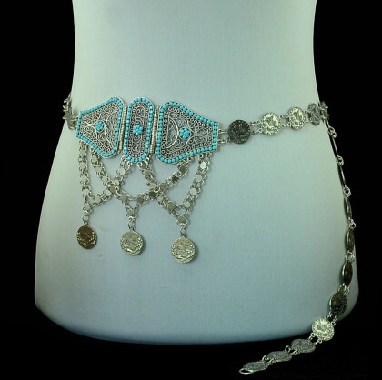 N-5224 Boho Ethnic Tribal Festival Jewelry Coin Resin India Belt Belly Body Chain Jewelry