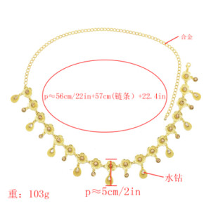 N-7109 Luxurious Gold Waist Chain Boho Ethnic Tribal Festival Jewelry Rhinestone Crystal Flower  India Belt Belly Body Chain Jewelry