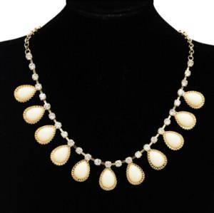 N-4262 New Design Crystal Gemstone Drop Charm Tassels Gold Tone Choker Necklace