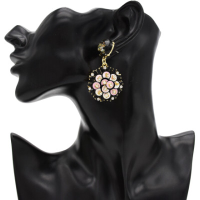 E-4820 Handmade Bohemian Flower Rhinestone Drop Earrings Hook Earring for Women Party Jewelry
