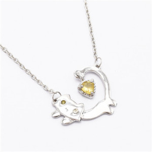 N-3319 Fashion Chaem Silver Plated Cat Crystal Long Chain Pendant Necklace