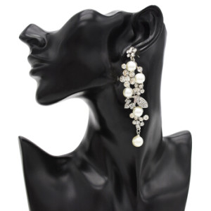 E-4817 Elegant Simulated Pearl Rhinestone Long Drop Earrings for Women Bridal Wedding Party Jewelry