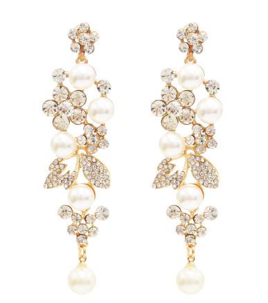 E-4817 Elegant Simulated Pearl Rhinestone Long Drop Earrings for Women Bridal Wedding Party Jewelry