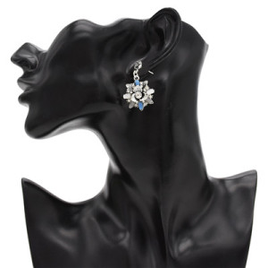 E-4816 2 Colors Trendy Vintage Silver Solid Flower Shape Rhinestone Earring For Women Jewelry Design