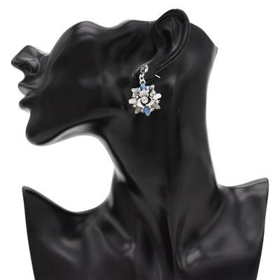 E-4816 2 Colors Trendy Vintage Silver Solid Flower Shape Rhinestone Earring For Women Jewelry Design