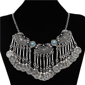 N-5087  Bohemian Vintage Ethnic Silver plated Gypsy Coin Collar Statement Necklace