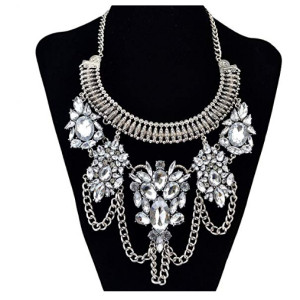 N-6260 Bohemia Vintage Silver/Gold Plated Big Geometry Shape Charm Crystal Choker Statement Necklace For Women Jewelry