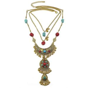 N-5923 Vintage Silver Gold Plated Alloy Multilayer Chain Natural Turquoise Beads Tassel Pendant Necklace