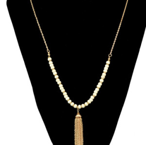 N-6378-WH Bohemian Ethnic Long Gold Tassel White Resin Beads Statement Necklace Party Jewelry