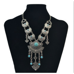 N-6875 2 Styles Bohemian Vintage Ethnic Silver plated Gypsy Leaves Pendant Rhinestone Collar Statement Necklace