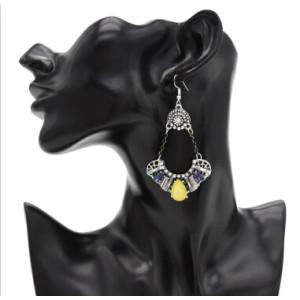 Vintage Elegant Simulated Glass Crystal Rhinestone Long Drop Earrings for Women Bridal Wedding Party Jewelry