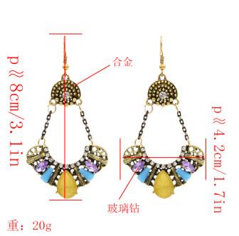 E-4815 Vintage Elegant Simulated Glass Crystal Rhinestone Long Drop Earrings for Women Bridal Wedding Party Jewelry