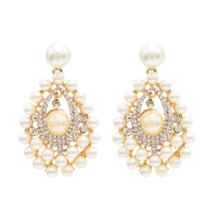 E-4814 Elegant Wedding Earring Full Artificial Pearl Rhinestone Drop Earrings for Bridal Bridesmaid