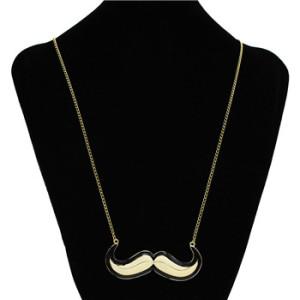 N-2830 Fashion Colorful Enamel Gold Plated Personalized Beard Shape Pendant Necklace